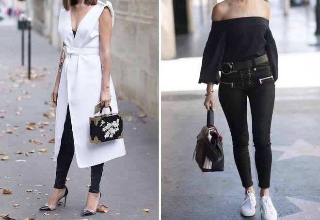 черные обтягивающие брюки