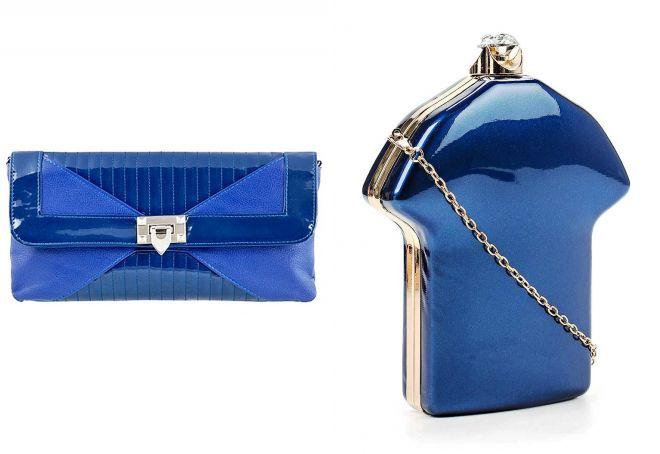 синий лаковый клатч