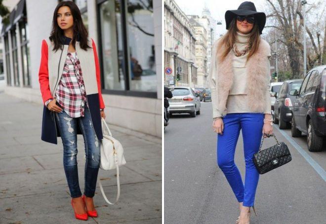 образ с синими джинсами