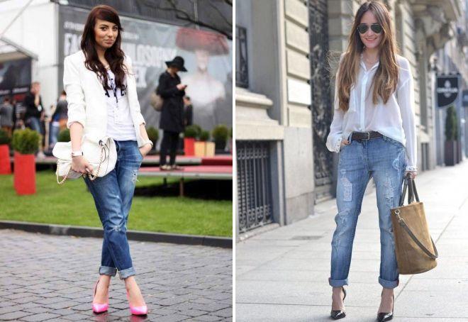 синие джинсы бойфренды