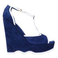 Niebieskie sandały na klinie 1
