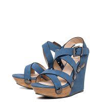 Niebieskie sandały na klinie 2