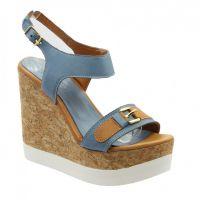 Niebieskie sandały na klinie 7