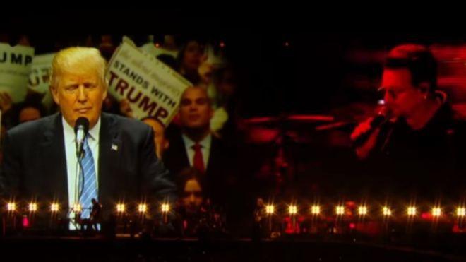 Кадр с концерта где Боно троллит Трампа