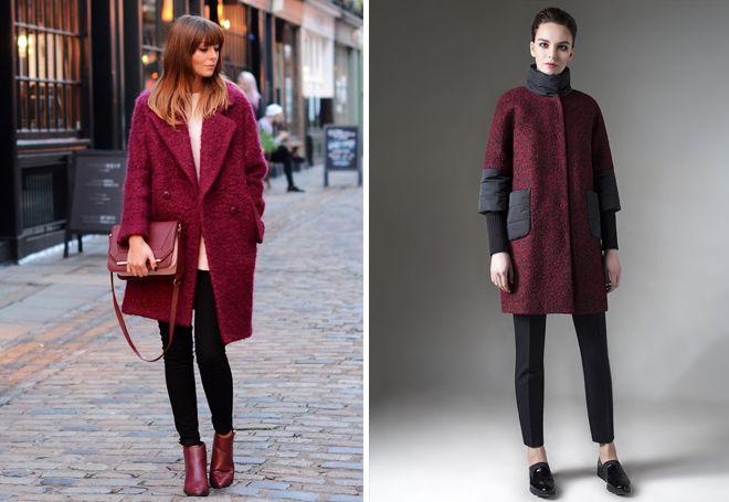 женское бордовое пальто