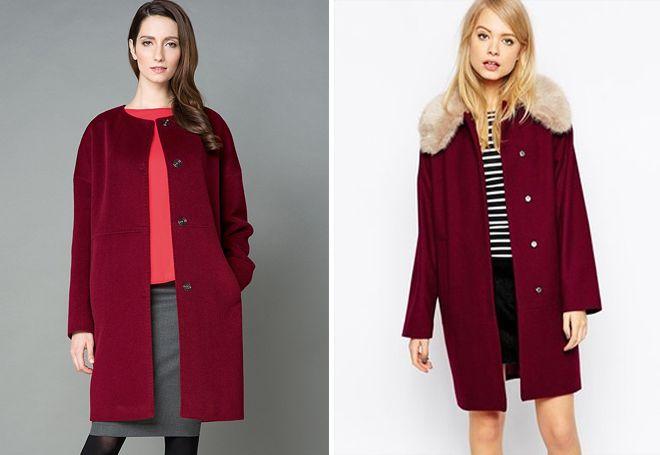 прямое бордовое пальто