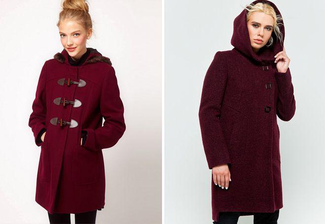 бордовое пальто с капюшоном