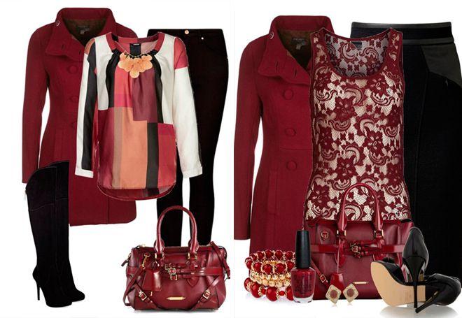 бордовое пальто с черное одеждой