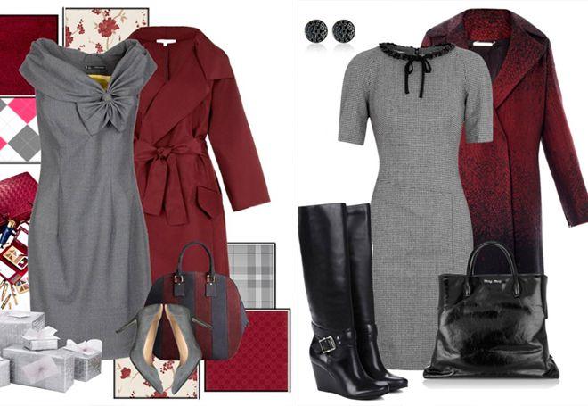 бордовое пальто с серой одеждой