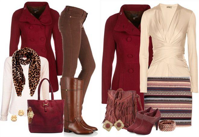 бордовое пальто с бежевой одеждой