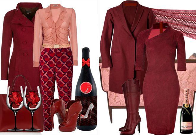 бордовое пальто с розовым