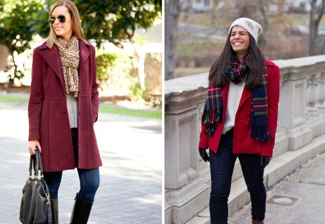 бордовое пальто с шарфом