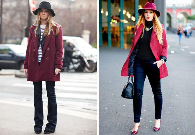бордовое пальто с шляпой