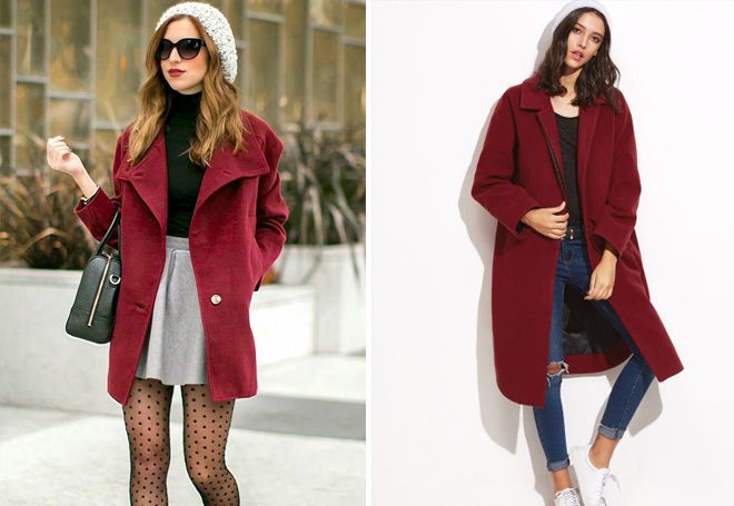 бордовое пальто с вязаной шапкой