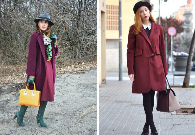 бордовое пальто с головным убором