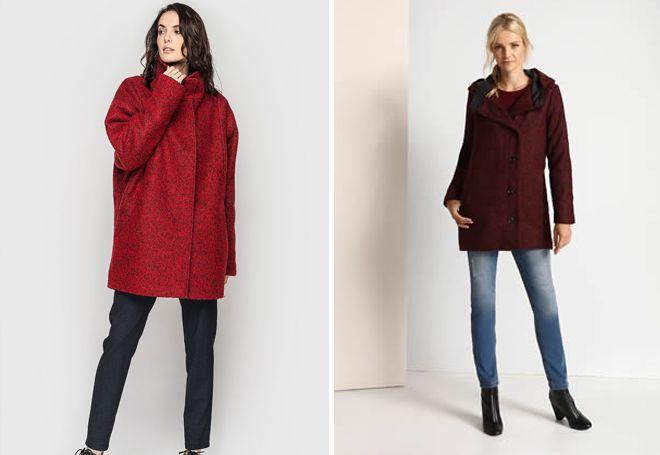 укороченные бордовое пальто