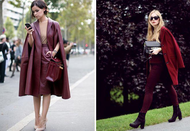 монолуки с бордовым пальто