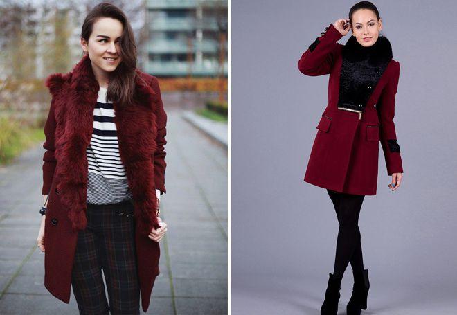 бордовое пальто с мехом