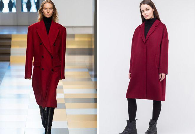 бордовое пальто оверсайз