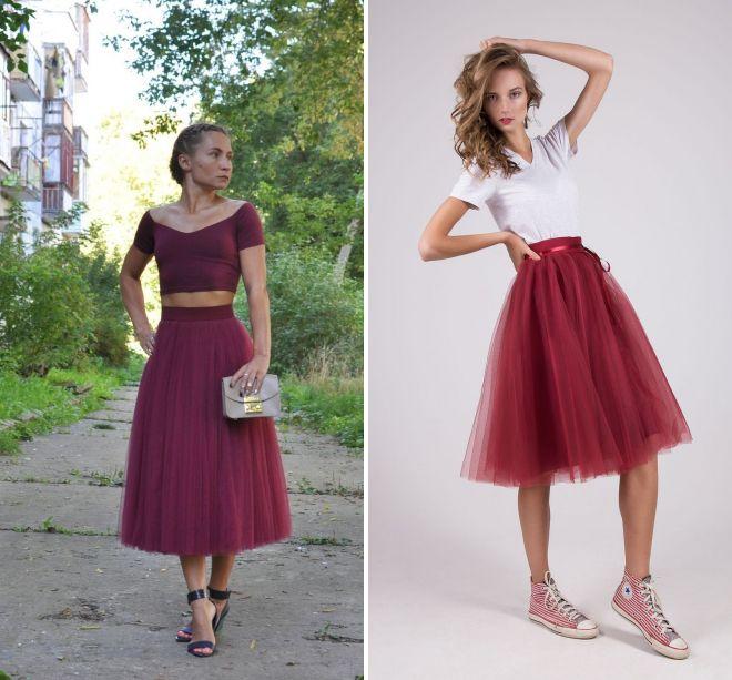 бордовая юбка пачка 2017