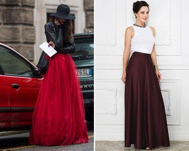 длинная бордовая юбка