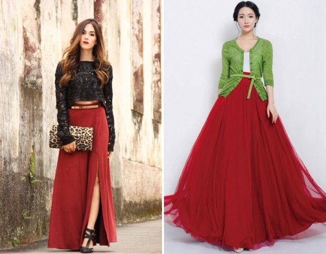 длинная бордовая юбка 2017