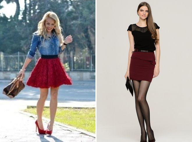 короткая бордовая юбка