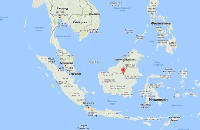 Борнео на карте мира