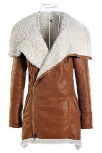 Brązowy płaszcz z owczej skóry 3