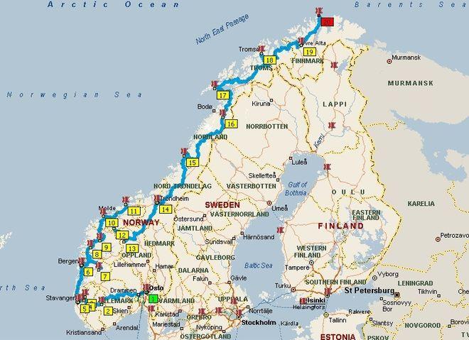 Карта кемпингов Норвегии