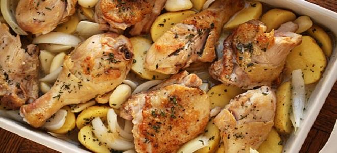 Пилешки крачета с картофи в кефир
