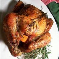 kuře plněné pomeranci v troubě