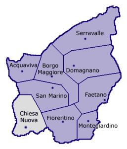 Кьезануова на карте Сан-Марино
