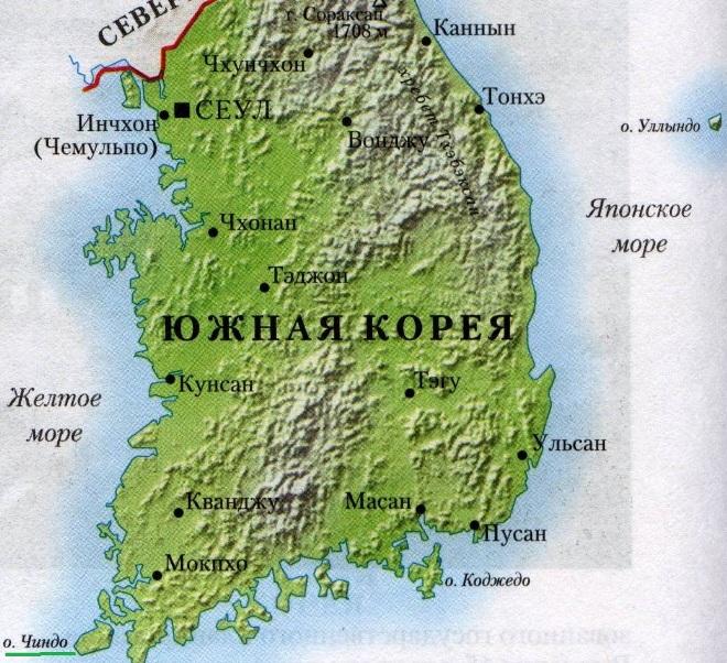 Остров Чиндо на карте
