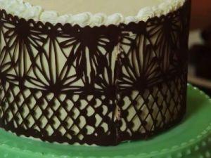 как украсить торт шоколадным ганашем2