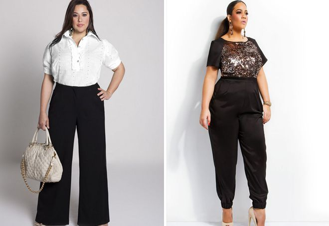 классические брюки для полных с высокой талией