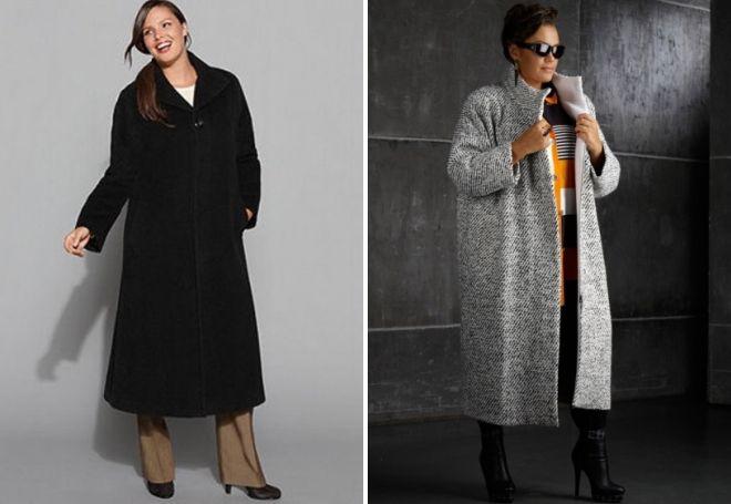 длинные пальто для полных женщин
