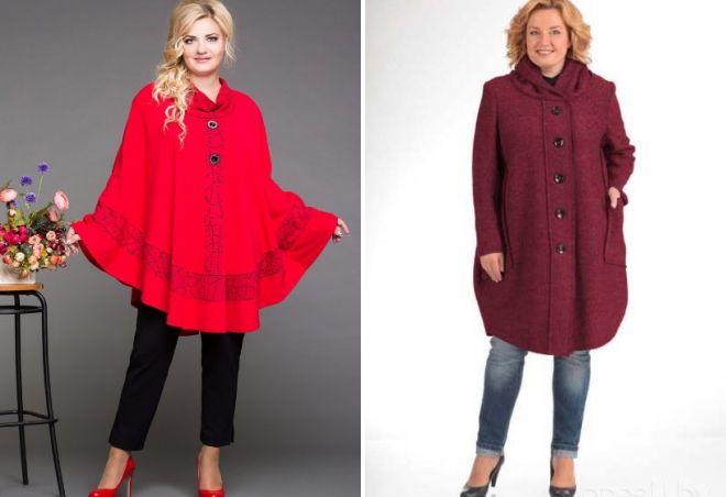 пальто пончо для полных женщин