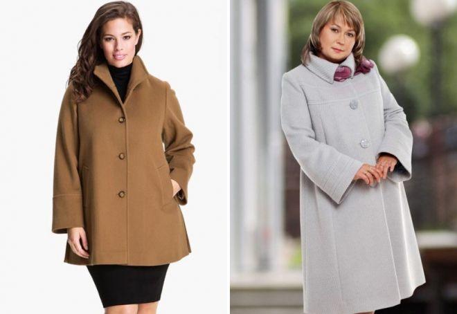 пальто трапеция для полных женщин