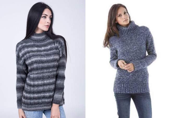 свитер с воротником стойкой