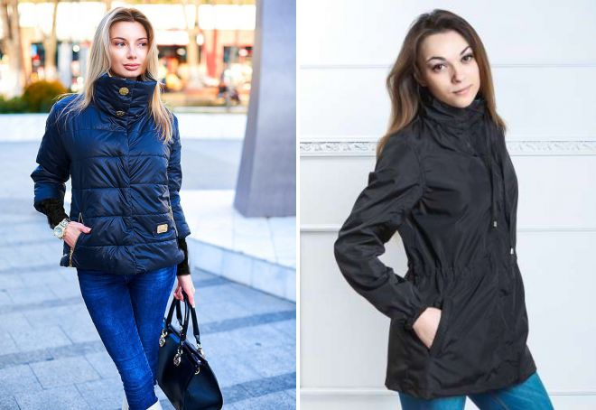 женская куртка с воротником стойкой