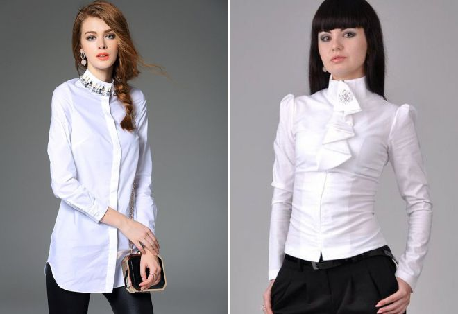 блузка с высоким воротником стойкой