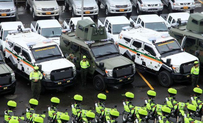 Бронетехника, использующаяся для патрулирования автомагистралей в Колумбии