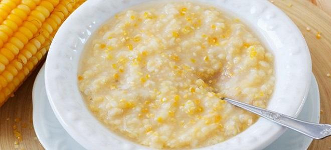 Царевична каша с мляко и вода - рецепта