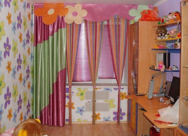 нитяные шторы в детской