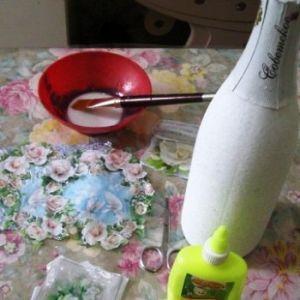 decoupage poročna šampanjec steklenica2