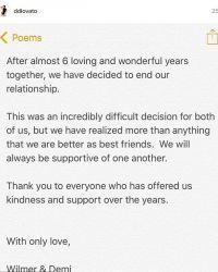 Они объявили, что они прекратили свои отношения, в Instagram Деми