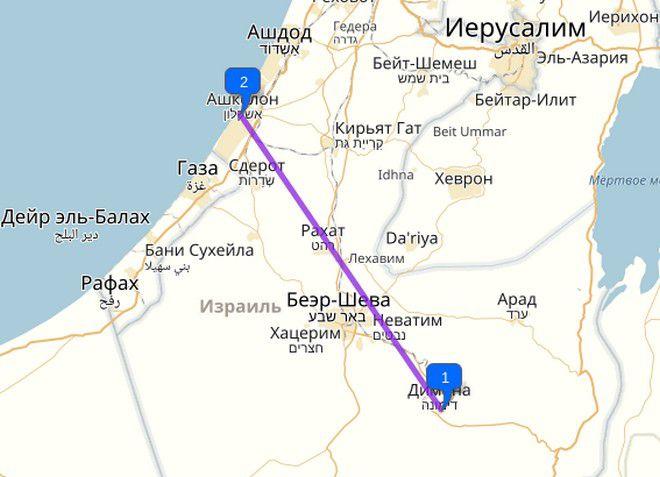 Димона Израиль на карте