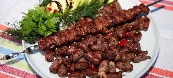Shish kebab iz piščančjih srčkov na žaru iz žara