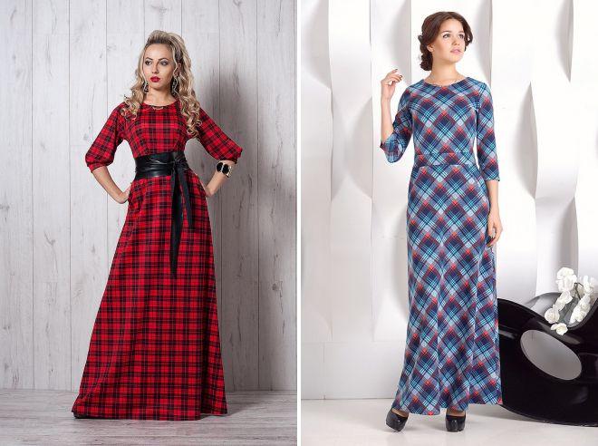 вечернее платье в клетку модное